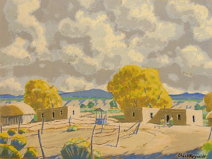"""Charles Reynolds, New Mexico Houses (Espanola) Watercolor, 15"""" x 19.5"""""""