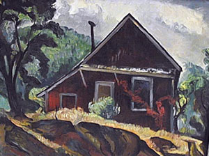 "Charles Surendorf, Farm House, Oil on Board, 16"" x 20"""
