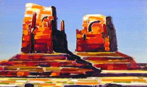 "Conrad Buff, Mittens / Trees in Landscape, Oil on Board, 13"" x 20"""