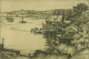 """Cornelis Botke, Bodega Bay, Etching, Circa 1930, 9"""" x 12"""""""