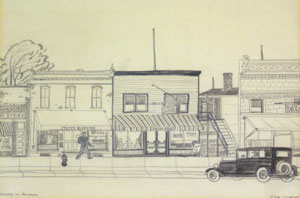 "Dale Nichols, Sunday in Palmyra, Graphite on Paper, 7"" x 11"""
