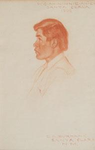 """E. A. Burbank, Pog-Ah-Ninnie-Ah-Ey (Santa Clara), 1909, Conte Crayon on Paper, 14"""" x 9"""""""
