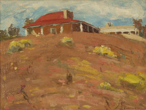 """Eanger Irving Couse, Couse's House, Oil on Canvas Board, Circa 1910, 9.5"""" x 11.5"""""""