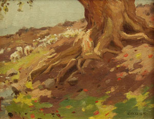 """Eanger Irving Couse, Tree Trunk, Oil on Board, Circa 1910, 7"""" x 9"""""""