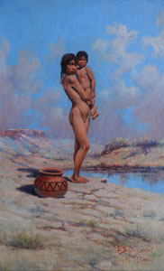 "Edgar Samuel Paxson, A Pueblo Girl Playing Mother, Oil on Board, Circa 1917, 22.25"" x 14.25"""