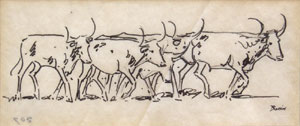 """Edward Borein, Cattle Crossing, Pen and Ink, 2.5"""" x 5.25"""""""