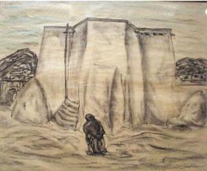"""Emil Bisttram, Rancho de Taos, Conte Crayon, 13"""" x 16"""""""