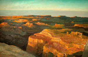 "Eric Sloan, Grand Canyon, Oil on Board, 24"" x 36"""