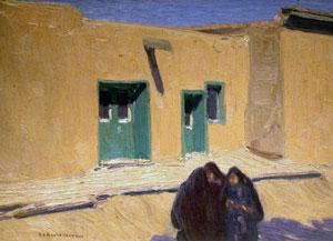 """Ernest Blumenschein, Las Tres Mujeres, Oil on Board, 9"""" x 12"""""""