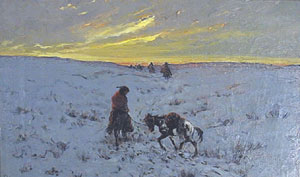 "Frank Sauerwein, Winter Passage, Oil on Canvas, 1902, 12"" x 18"""