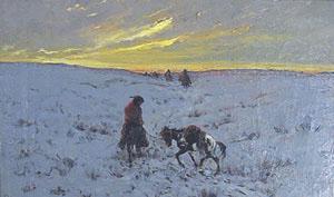 """Frank Sauerwein, Winter Passage, Oil on Canvas, 1902, 12"""" x 18"""""""