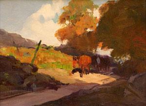 "Frank Tenney Johnson, Rim Rock Ranch, Oil on Paperboard, 11"" x 15"""