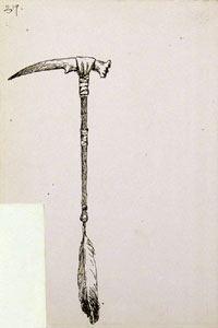 """Frederic Remington, Tomahawk from Deer Antler, Ink on Paper, 9"""" x 6"""""""