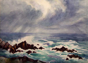 "Gene Kloss, Coast at Carmel, Watercolor, 21"" x 29"""