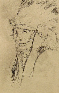 "Gerald Cassidy, Indian with Warbonnet, Etching, Circa 1920-30, 4.75"" x 3.25"""