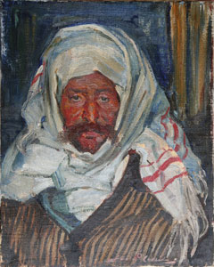 "Gerald Cassidy, Bedouin Man, Oil on Canvas, c. 1927, 18"" x 15"""