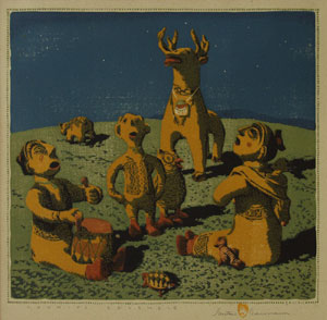 "Gustave Baumann, Cochiti Ensemble 3/125, Woodblock print, 13.5"" x 14"""