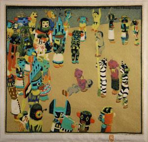 "Gustave Baumann, Hopi Katzinas, Circa 1925, Woodblock print, 12.5"" x 13.5"""