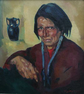 "Hans Paap, Taos Indian, Oil on Canvas, 21"" x 19"""