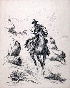 "Herman Wendelborg Hansen, Patroling the Rio Grande, Etching, 5"" x 4"""