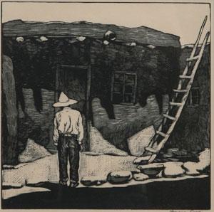 "Howard Cook, Hopi House, Woodcut, c. 1927, 8"" x 8"""