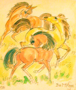 "Ila McAfee, Horses in Rhythm, Watercolor, dated 1971, 5"" x 4"""
