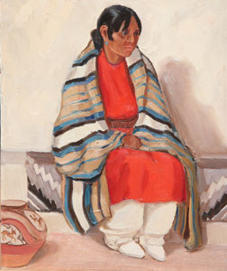 "Ila McAfee, Woman with Blanket, Oil on Panel, c. 1950, 8"" x 10"""