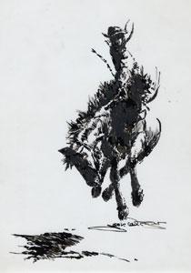 "Jack van Ryder, Cowboy and Bronco, Pen and Ink on Acetate, 12"" x 9"""
