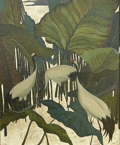 "Jesse Arms Botke, Sacred Cranes, Oil on Canvas, Circa 1930, 16"" x 13"""