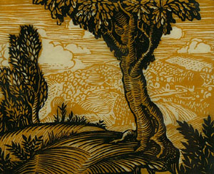 "Jesse Arms Botke, Trees and Mountains, Woodblock, 5"" x 6"""