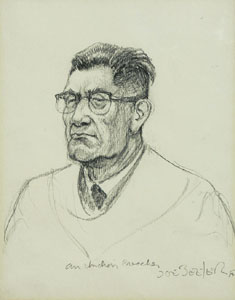 "Joe Beeler, Indian Preacher, Graphite on Paper, c. 1960-70, 7"" x 6"""