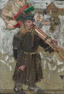"Leon Gaspard, Chimney Sweep, Oil on linen, 9"" x 6.25"""