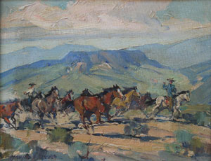 "Marjorie Reed, Arizona Stallions, Oil on Canvas Board, 8"" x 10"""