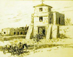 """Nick Eggenhofer, San Miguel Church, Gouache on Paper, 7"""" x 9"""""""