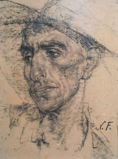 "Nicolai Fechin, Mexican in a Cowboy Hat, Charcoal on Paper, 16"" x 12"""