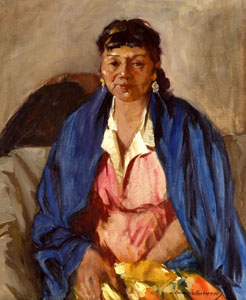 "Odon Hullenkremer, Blue Shawl, Circa 1940, Oil on Canvas, 24"" x 20"""