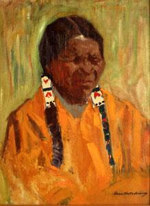 "Odon Hullenkremer, Long Braids, Circa 1930, Oil on Board, 24"" x 18"""