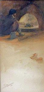"""Oscar Berninghaus, Indian at Fireplace, Watercolor, CIrca 1900, 9"""" x 4"""""""