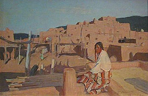 "Oscar Berninghaus, Taos Pueblo and Indian, Oil on Panel, CIrca 1914, 8"" x 12"""