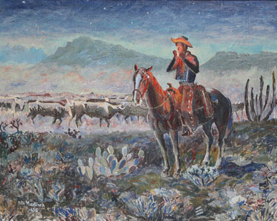 """Pete Martinez, Cowboy and Cattle, c. 1955, Oil on Canvas, 30"""" x 36"""""""
