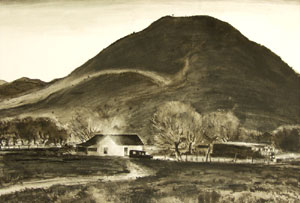 "Peter Hurd, Ranch Scene, Ink on Paper, 12"" x 18"""