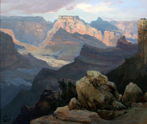 "Ralph Love, Grand Canyon Watens Throne, Oil on Panel, 14"" x 18"""