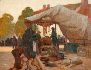 "Victor Higgins, A Market Place in France, Oil on Canvas Board, c. 1912-13, 14"" x 18"""