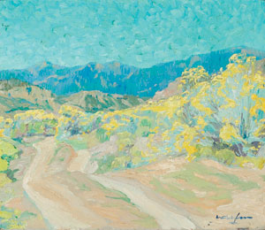 "Walter Ufer, A Road in the Rockies, October 1915, Oil on Canvas, 10"" x 11"""