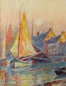 "Warren E. Rollins, Sailboats at Harbor, Crayon on Paper, 13"" x 10"""
