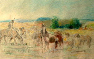 """William Gollings, Indian on the Plains, Colored Pencil on Paper, 8"""" x 13"""""""