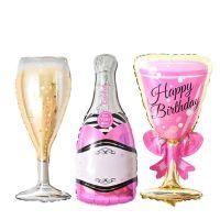 Σετ 6 μπαλόνια σε σχήμα σαμπάνιας και ποτήρια Happy birthday