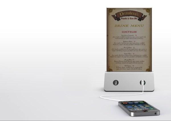 Power Bank Stand 20.000Mah 4 x USB 4Α & LED βάση καταλόγου για χώρους εστίασης