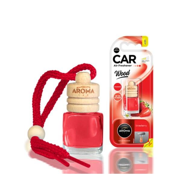 Αρωματικό αυτοκινήτου κρεμαστό μπουκαλάκιμε ξύλινο καπάκι aroma 6ml με άρωμα strawberry