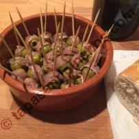 Pinchos with stuffed Olives and Anchovy (Pinchos o Banderillas de Anchoas)